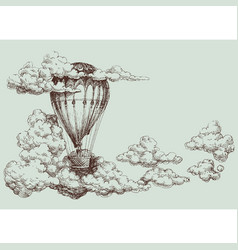 Hot air balloon up in the sky retro poster vector