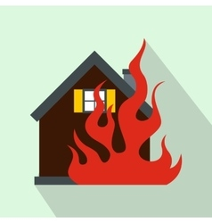 House on fire icon flat style vector image