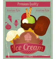 Ice Cream Vintage Card Menu vector image vector image