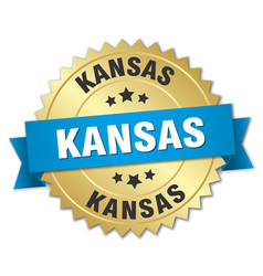 Kansas round golden badge with blue ribbon vector