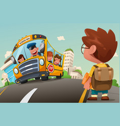 kid waiting at a bus stop vector image