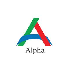 Letter a alpha colorful paper linked logo vector