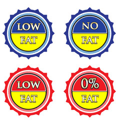 low and no fat label set vector image