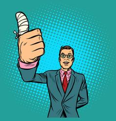 Man bandaged finger vector