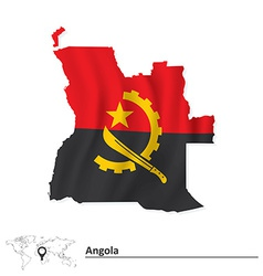 Map of Angola with flag vector image