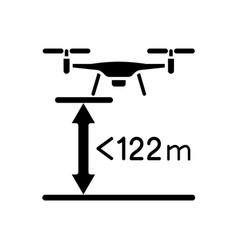 Max flight height black glyph manual label icon vector