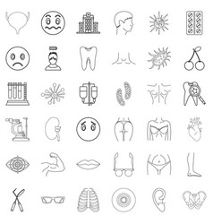 Medical pharmaceutical icons set outline style vector