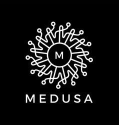 Medusa tech mandala electric circuit logo icon vector