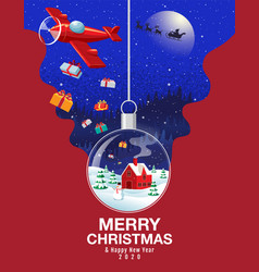 merry christmas happy new year 2020 snowball vector image