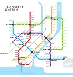 Metro or subway map design vector