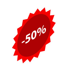 minus 50 percent sale red icon isometric style vector image