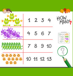 Monsters counting game cartoon vector