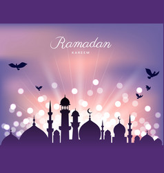 Mosque silhouette and abstract light for ramadan vector