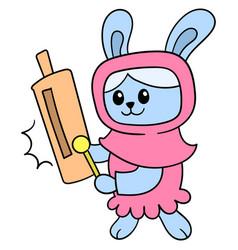 Muslim women rabbit wearing hijab fashion doodle vector
