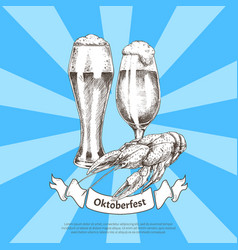 oktoberfest color banner isolated on striped blue vector image