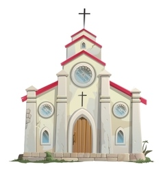 Old stone Catholic Church in cartoon style vector image
