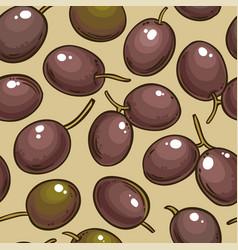 olive fruits pattern on color background vector image