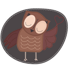 Owl is holding a heart imitation stripe vector