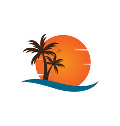 palm tree on a beach logo design template vector image