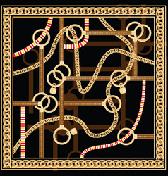 Pattern with golden chain and belts for fabric vector