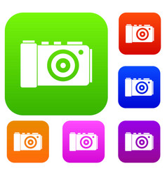 photo camera set collection vector image