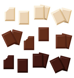 Pieces chocolate full and bitten vector