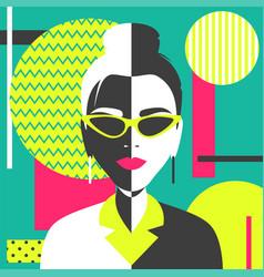 portrait a girl in geometric pop art style vector image