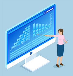 presenter pointing on project data results vector image