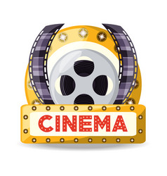 reel with filmstrips to cinematography production vector image