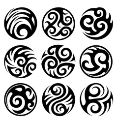 Round tribal tattoos set vector