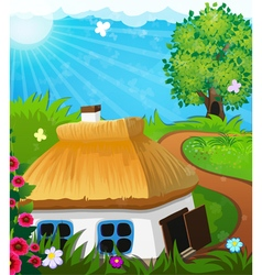 Rural landscape with a house vector