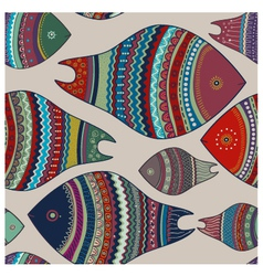 Seamless pattern Colorful fishes vector