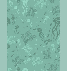 seamless pattern with jellyfish and seaweed vector image