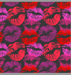 Seamless pattern with lipstick kisses colorful vector