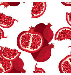 seamless pattern with sliced pomegranate vector image