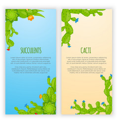 set 2 vertical banners with cactuses and vector image