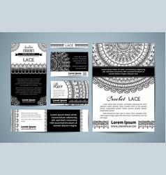 Set corporate lace crochet templates vector