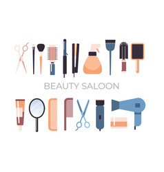 Set hairdresser tools and accessories collection vector