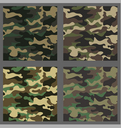 set of camouflage seamless patterns background vector image