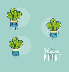 set of cute houseplants cartoon vector image