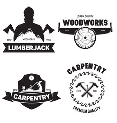 set of isolated vintage lumberjack labels with vector image
