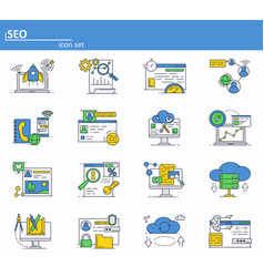set of seo optimization and digital vector image