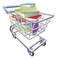 Shopping trolley cart full of books concept vector