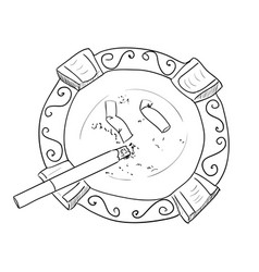 Sketch ashtray with cigarette vector