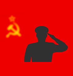 solder silhouette on blur background with soviet vector image