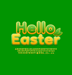 spring greeting card hello easter bright alphabet vector image