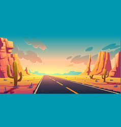 sunset in desert with road cactuses and rocks vector image