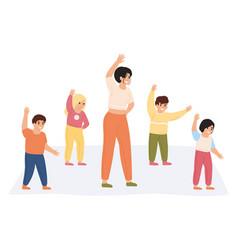 teacher and kids exercising preschool vector image