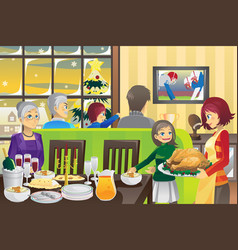 Thanksgiving family dinner vector