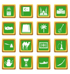 Turkey travel icons set green vector